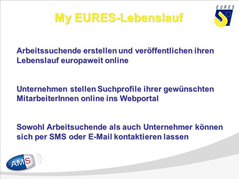 My EURES-Lebenslauf Arbeitssuchende erstellen und veröffentlichen ihren Lebenslauf europaweit online Unternehmen stellen Suchprofile ihrer gewünschten