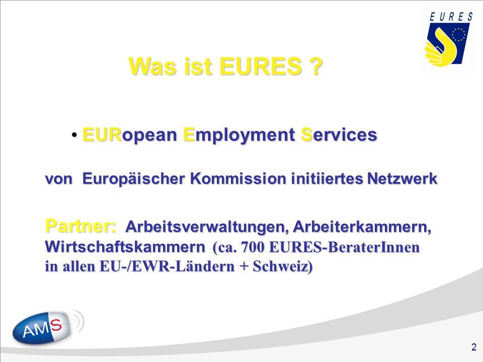 2 Was ist EURES ? EURopean Employment Services EURopean Employment Services von Europäischer Kommission initiiertes Netzwerk Partner: Arbeitsverwaltun