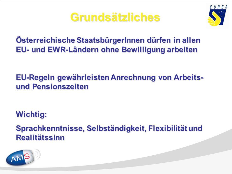 Grundsätzliches Österreichische StaatsbürgerInnen dürfen in allen EU- und EWR-Ländern ohne Bewilligung arbeiten EU-Regeln gewährleisten Anrechnung von