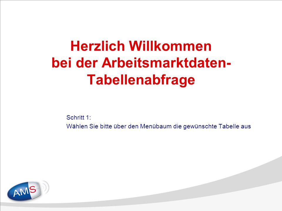 Herzlich Willkommen bei der Arbeitsmarktdaten- Tabellenabfrage Schritt 1: Wählen Sie bitte über den Menübaum die gewünschte Tabelle aus
