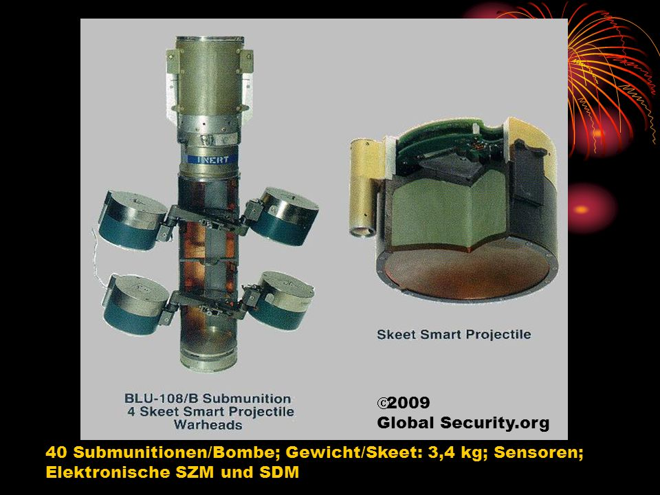 Suchzündermunition für die Artillerie (SMArt) 155, Submunition, © 2000, Gesellschaft für Intelligente Wirksysteme 2-4 Submunitionen/Geschoss Gewicht Submunition: > 4 kg Sensoren Elektronische SZM und SDM