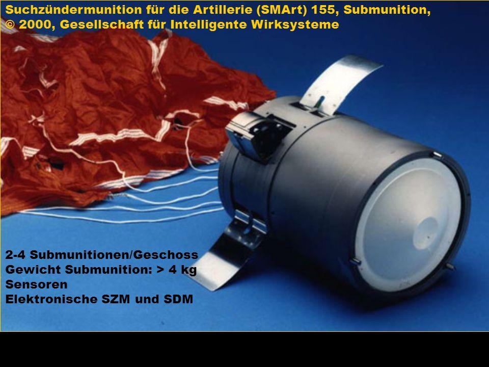 Suchzündermunition für die Artillerie (SMArt) 155, Submunition, © 2000, Gesellschaft für Intelligente Wirksysteme 2-4 Submunitionen/Geschoss Gewicht S