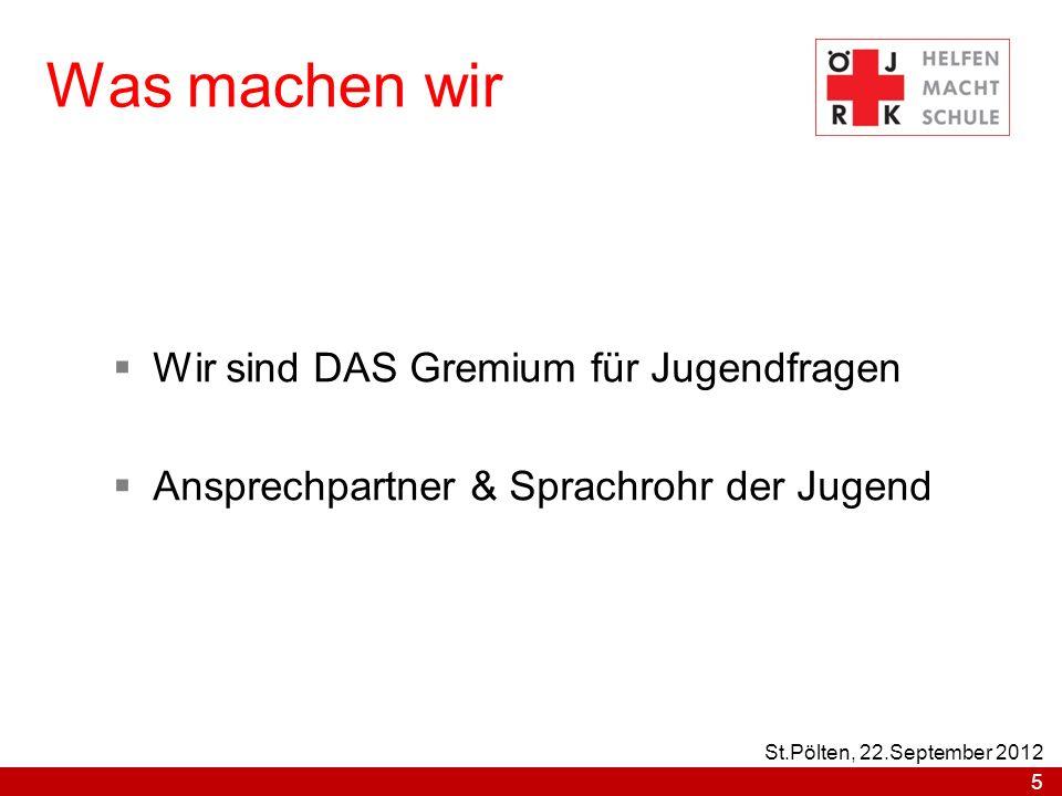 Teilnahme an der ÖJRK- Bundes- & Landeskonferenz Zusammenarbeit zwischen dem Jugendrotkreuz & dem Roten Kreuz 6 St.Pölten, 22.September 2012
