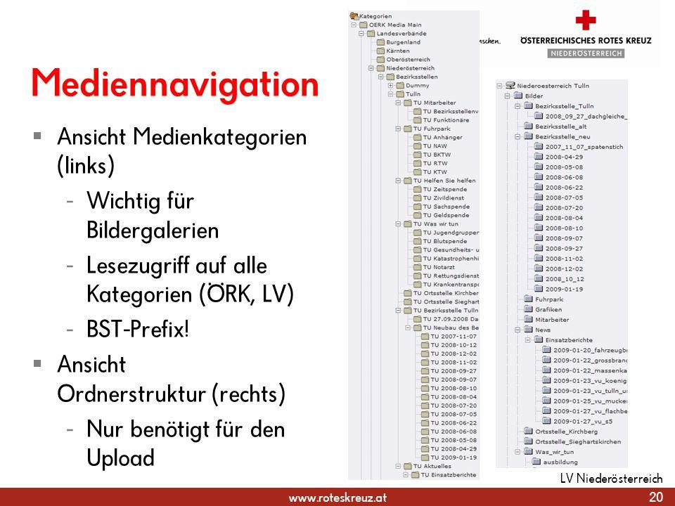www.roteskreuz.at Mediennavigation Ansicht Medienkategorien (links) - Wichtig für Bildergalerien - Lesezugriff auf alle Kategorien (ÖRK, LV) - BST-Pre