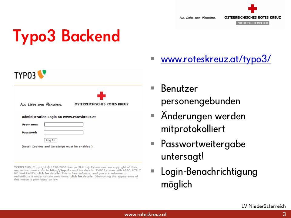 www.roteskreuz.at Typo3 Backend 4 LV Niederösterreich