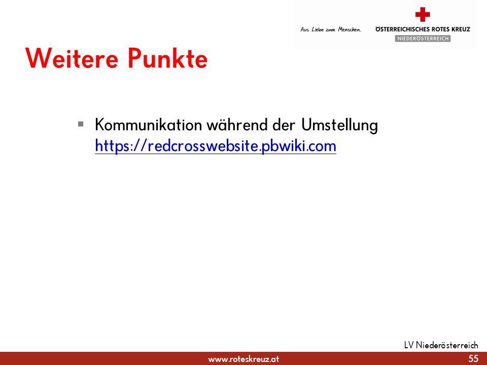 www.roteskreuz.at Weitere Punkte Kommunikation während der Umstellung https://redcrosswebsite.pbwiki.com https://redcrosswebsite.pbwiki.com 55 LV Nied