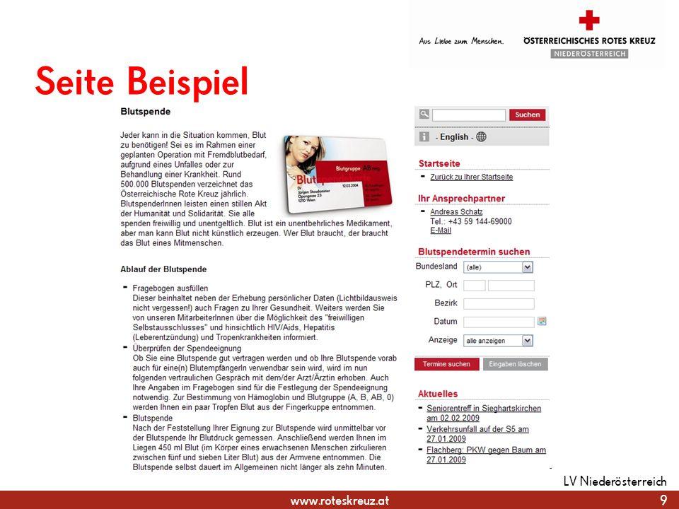www.roteskreuz.at Wichtige Punkte Fotogröße 800 x 600 px, 72 dpi Alternativtext und Copyright muss hinterlegt sein Titel und Beschreibung sind vorteilhaft Galerie sollte über Kategorien gesteuert sein 30 LV Niederösterreich