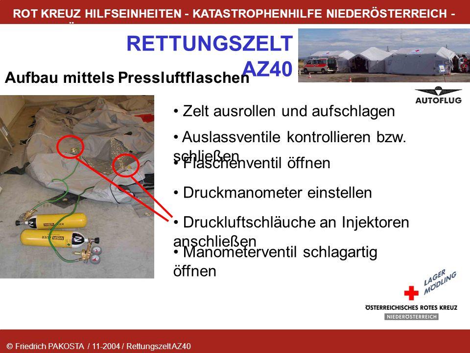 © Friedrich PAKOSTA / 11-2004 / Rettungszelt AZ40 RETTUNGSZELT AZ40 ROT KREUZ HILFSEINHEITEN - KATASTROPHENHILFE NIEDERÖSTERREICH - LAGER MÖDLING Aufb