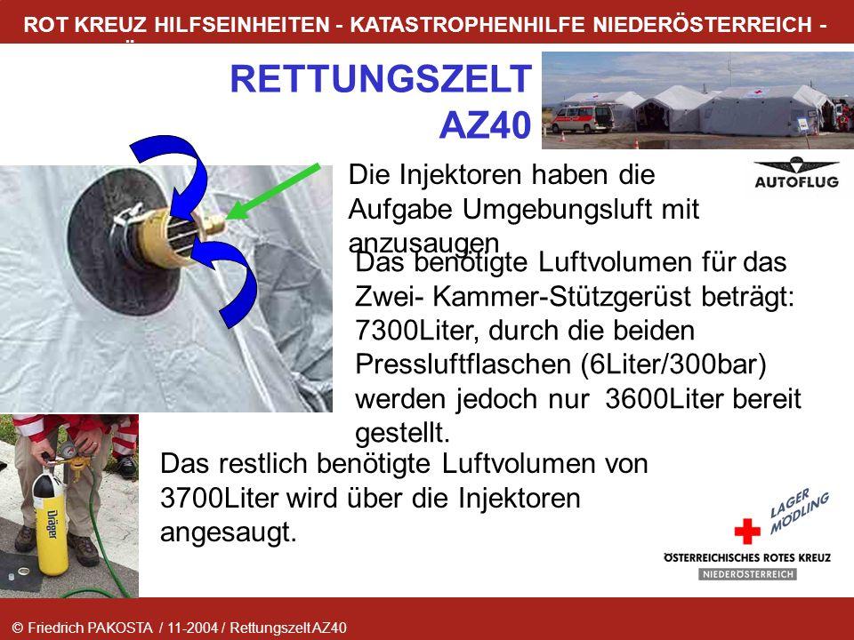 © Friedrich PAKOSTA / 11-2004 / Rettungszelt AZ40 RETTUNGSZELT AZ40 ROT KREUZ HILFSEINHEITEN - KATASTROPHENHILFE NIEDERÖSTERREICH - LAGER MÖDLING Die