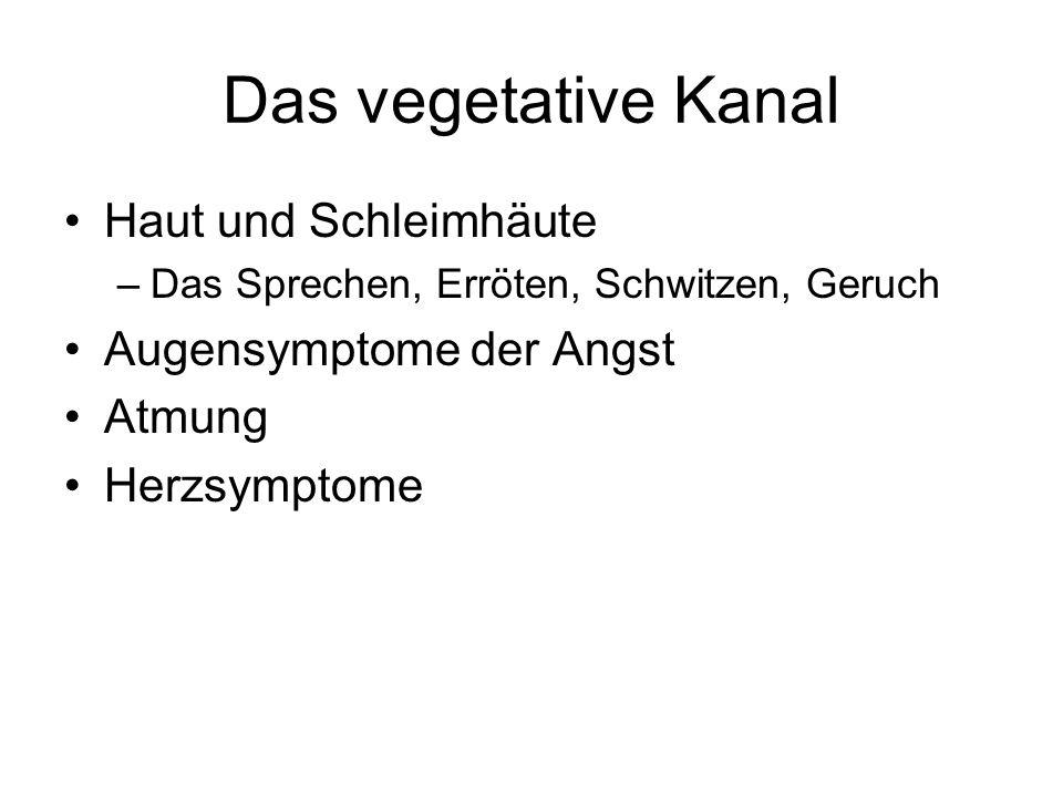 Das vegetative Kanal Haut und Schleimhäute –Das Sprechen, Erröten, Schwitzen, Geruch Augensymptome der Angst Atmung Herzsymptome