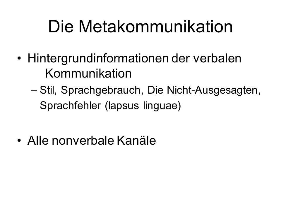 Die Metakommunikation Hintergrundinformationen der verbalen Kommunikation –Stil, Sprachgebrauch, Die Nicht-Ausgesagten, Sprachfehler (lapsus linguae)