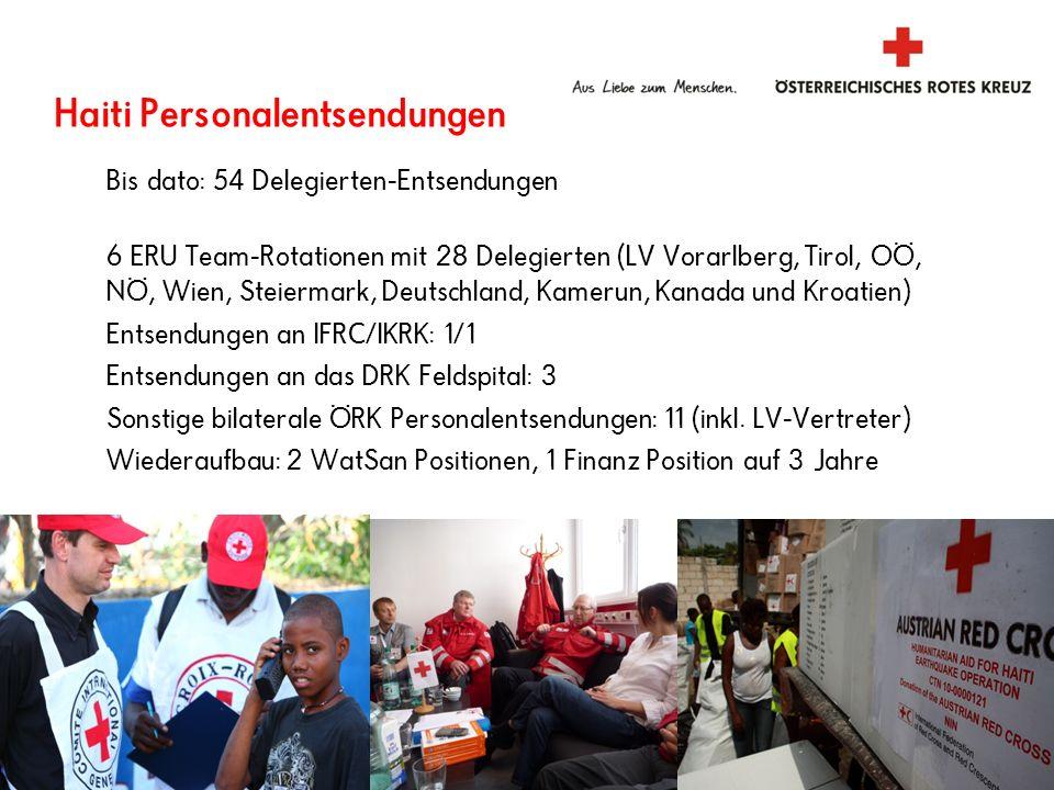 Haiti Personalentsendungen Bis dato: 54 Delegierten-Entsendungen 6 ERU Team-Rotationen mit 28 Delegierten (LV Vorarlberg, Tirol, OÖ, NÖ, Wien, Steierm