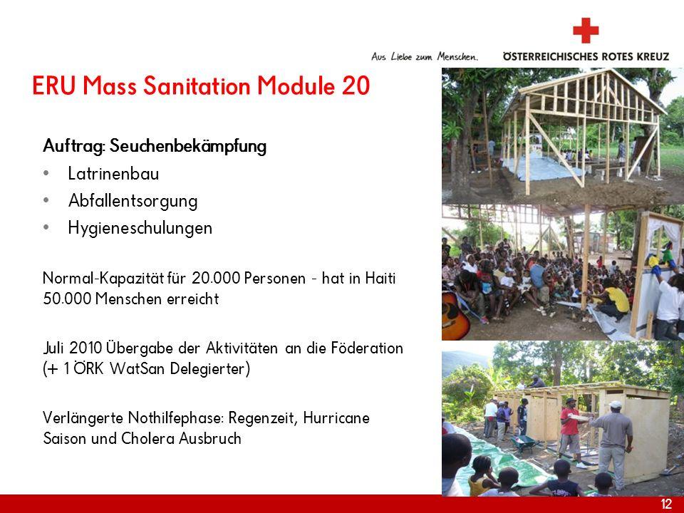 ERU Mass Sanitation Module 20 Auftrag: Seuchenbekämpfung Latrinenbau Abfallentsorgung Hygieneschulungen Normal-Kapazität für 20.000 Personen - hat in