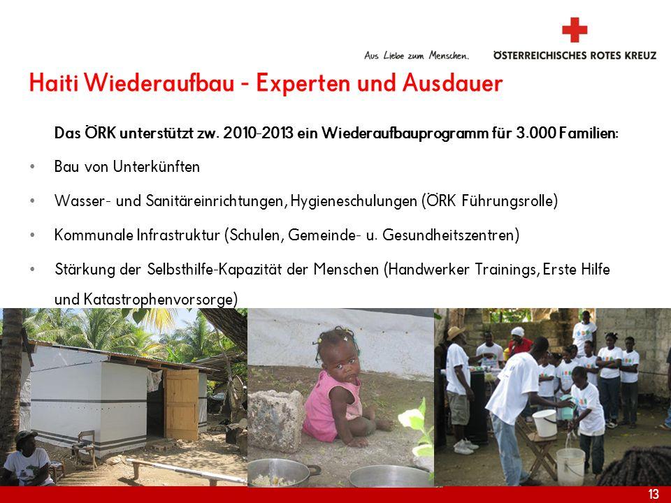 Haiti Wiederaufbau - Experten und Ausdauer Das ÖRK unterstützt zw. 2010-2013 ein Wiederaufbauprogramm für 3.000 Familien: Bau von Unterkünften Wasser-
