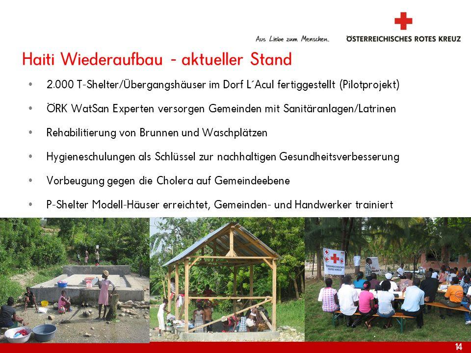 Haiti Wiederaufbau - aktueller Stand 2.000 T-Shelter/Übergangshäuser im Dorf L´Acul fertiggestellt (Pilotprojekt) ÖRK WatSan Experten versorgen Gemein