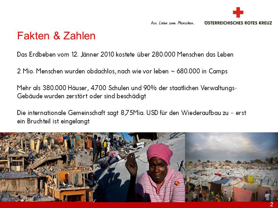 2 Internationale Katastrophenhilfe Fakten & Zahlen Das Erdbeben vom 12. Jänner 2010 kostete über 280.000 Menschen das Leben 2 Mio. Menschen wurden obd