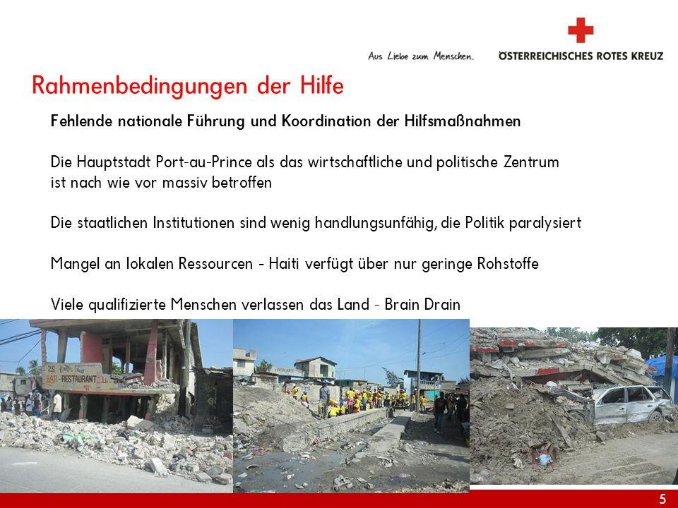 6 Internationale Katastrophenhilfe RK/RH Bewegung in Haiti Größter Einsatz in der Geschichte des Roten Kreuzes in einem Land – koordiniert von IFRC Genf und IFRC Zone in Panama, 21 ERUs nach Haiti entsandt IFRC Koordination des Shelter Clusters IKRK Delegation vor Ort - v.a.
