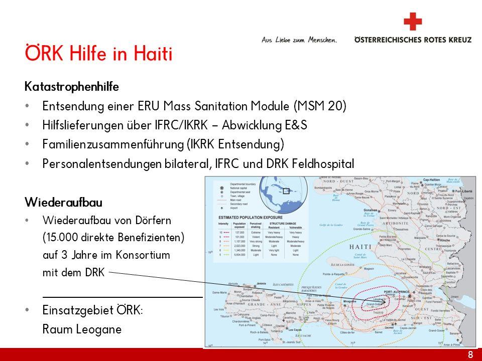 ÖRK Hilfe in Haiti Katastrophenhilfe Entsendung einer ERU Mass Sanitation Module (MSM 20) Hilfslieferungen über IFRC/IKRK – Abwicklung E&S Familienzus