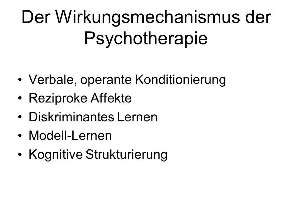 Der Wirkungsmechanismus der Psychotherapie Verbale, operante Konditionierung Reziproke Affekte Diskriminantes Lernen Modell-Lernen Kognitive Strukturi
