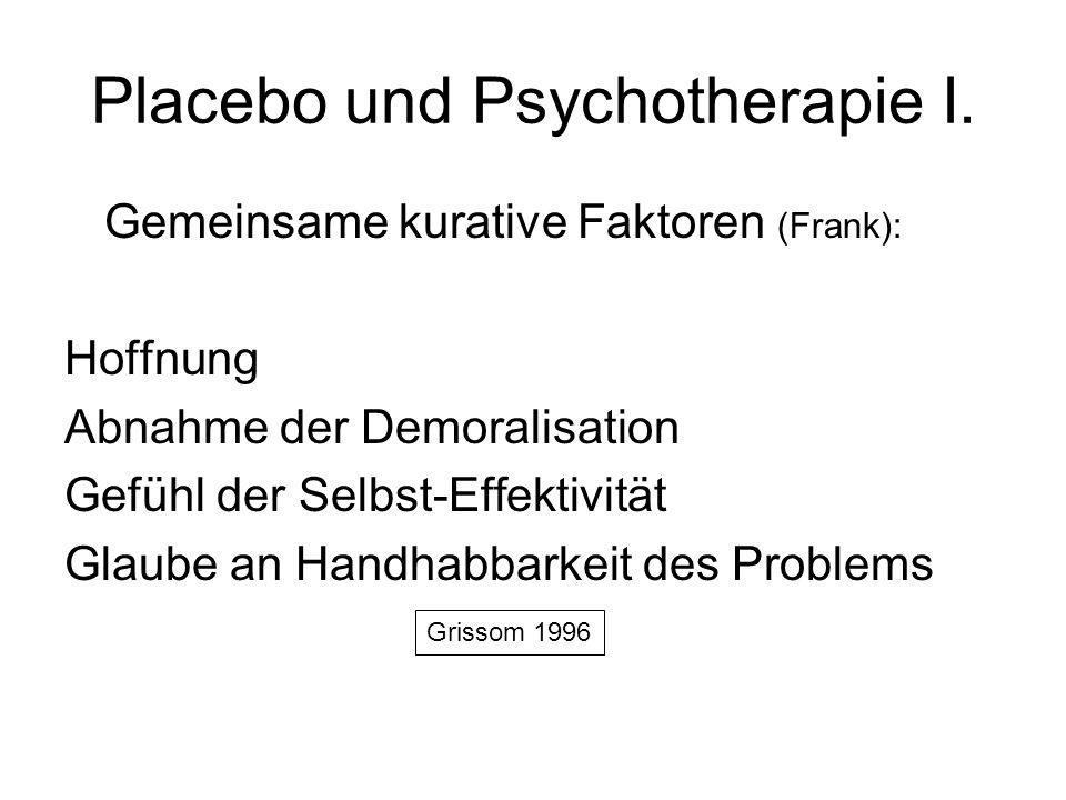 Placebo und Psychotherapie I. Gemeinsame kurative Faktoren (Frank): Hoffnung Abnahme der Demoralisation Gefühl der Selbst-Effektivität Glaube an Handh