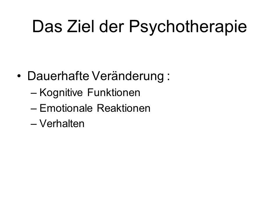 Das Ziel der Psychotherapie Dauerhafte Veränderung : –Kognitive Funktionen –Emotionale Reaktionen –Verhalten
