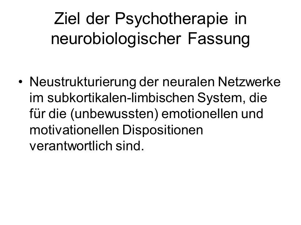 Ziel der Psychotherapie in neurobiologischer Fassung Neustrukturierung der neuralen Netzwerke im subkortikalen-limbischen System, die für die (unbewus