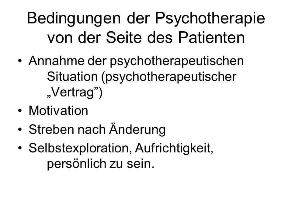 Bedingungen der Psychotherapie von der Seite des Patienten Annahme der psychotherapeutischen Situation (psychotherapeutischer Vertrag) Motivation Stre