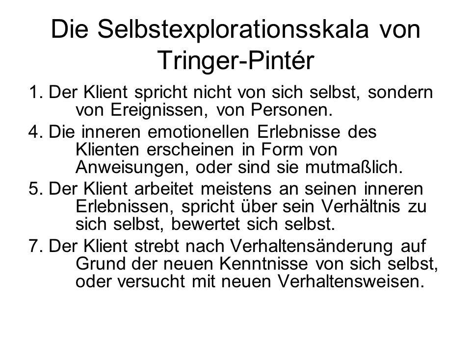 Die Selbstexplorationsskala von Tringer-Pintér 1. Der Klient spricht nicht von sich selbst, sondern von Ereignissen, von Personen. 4. Die inneren emot