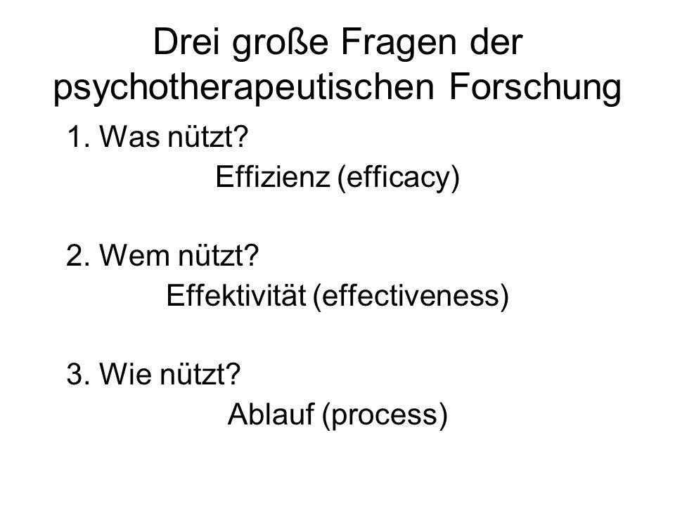 Drei große Fragen der psychotherapeutischen Forschung 1. Was nützt? Effizienz (efficacy) 2. Wem nützt? Effektivität (effectiveness) 3. Wie nützt? Abla