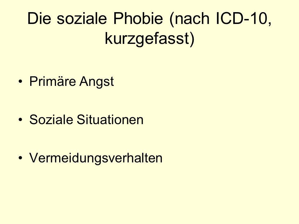 Die soziale Phobie (nach ICD-10, kurzgefasst) Primäre Angst Soziale Situationen Vermeidungsverhalten