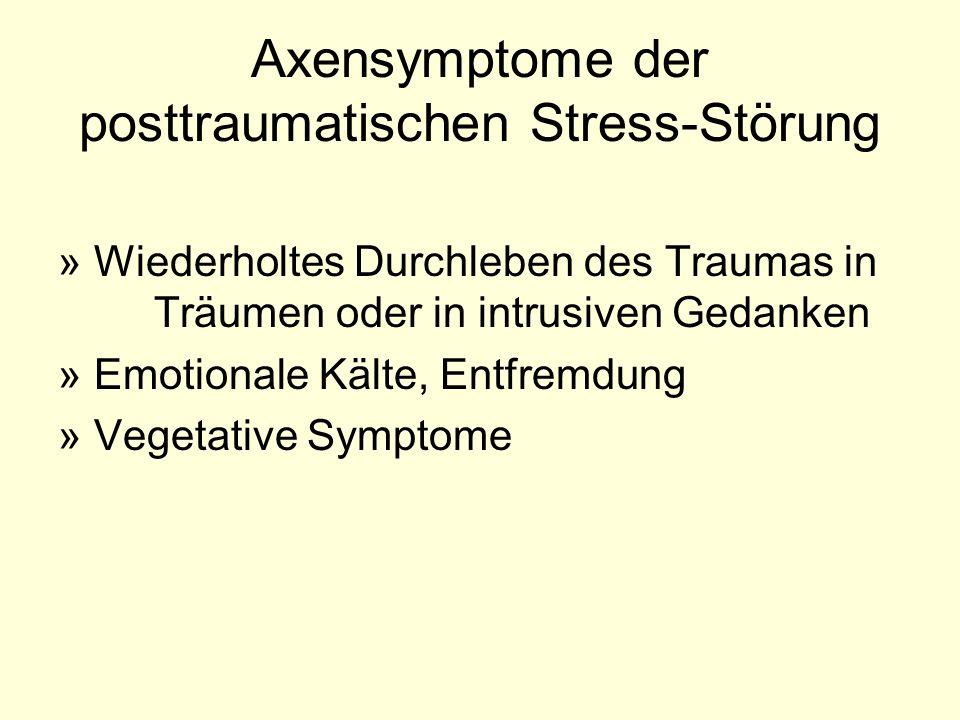 Axensymptome der posttraumatischen Stress-Störung »Wiederholtes Durchleben des Traumas in Träumen oder in intrusiven Gedanken »Emotionale Kälte, Entfr