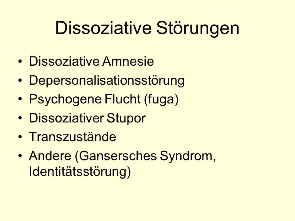 Dissoziative Störungen Dissoziative Amnesie Depersonalisationsstörung Psychogene Flucht (fuga) Dissoziativer Stupor Transzustände Andere (Gansersches
