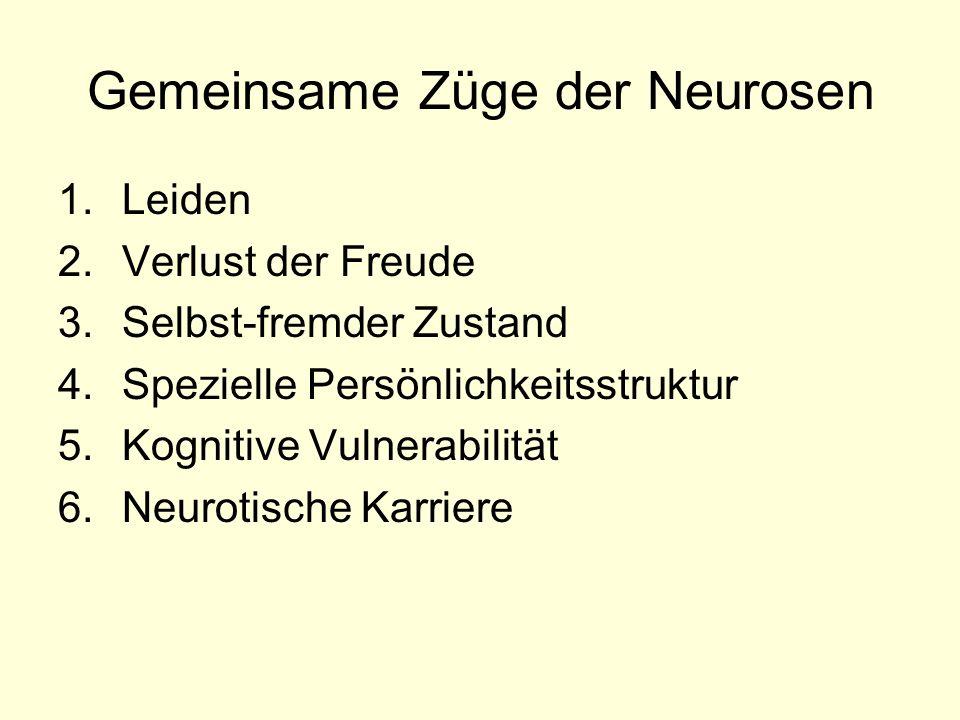 Gemeinsame Züge der Neurosen 1.Leiden 2.Verlust der Freude 3.Selbst-fremder Zustand 4.Spezielle Persönlichkeitsstruktur 5.Kognitive Vulnerabilität 6.N
