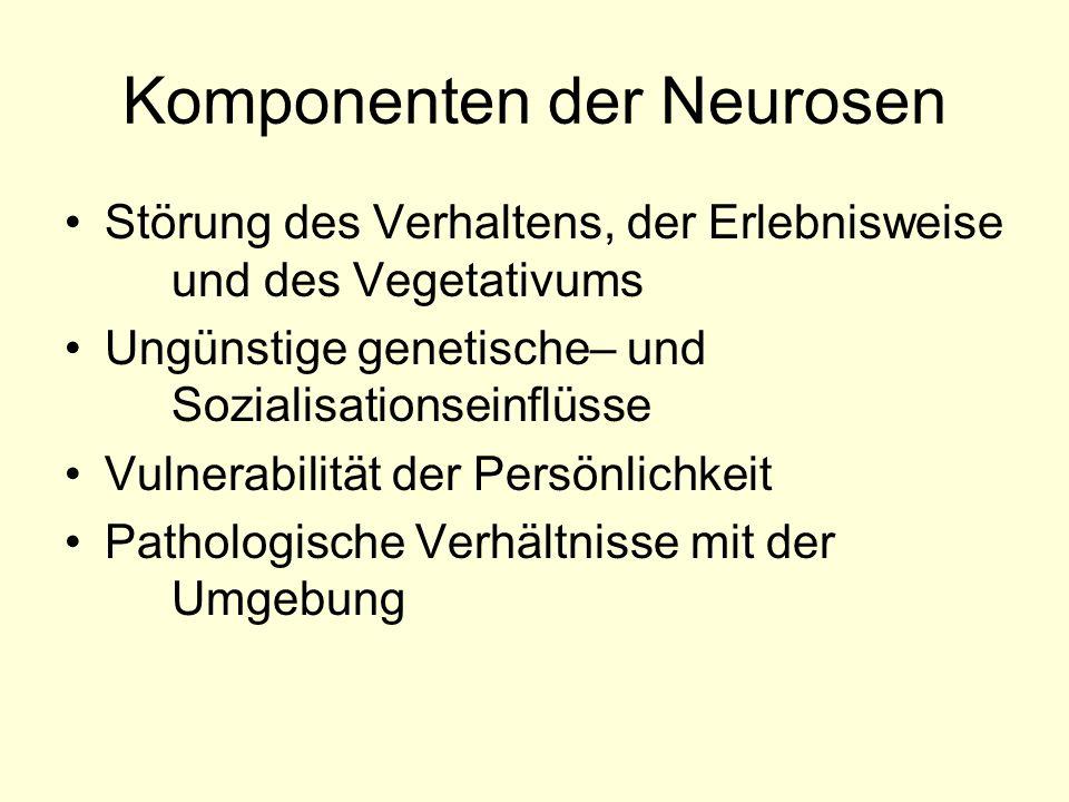Komponenten der Neurosen Störung des Verhaltens, der Erlebnisweise und des Vegetativums Ungünstige genetische– und Sozialisationseinflüsse Vulnerabili