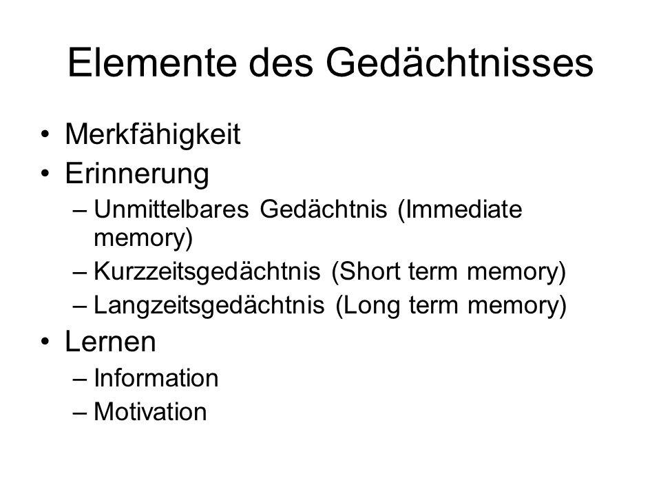 Elemente des Gedächtnisses Merkfähigkeit Erinnerung –Unmittelbares Gedächtnis (Immediate memory) –Kurzzeitsgedächtnis (Short term memory) –Langzeitsge