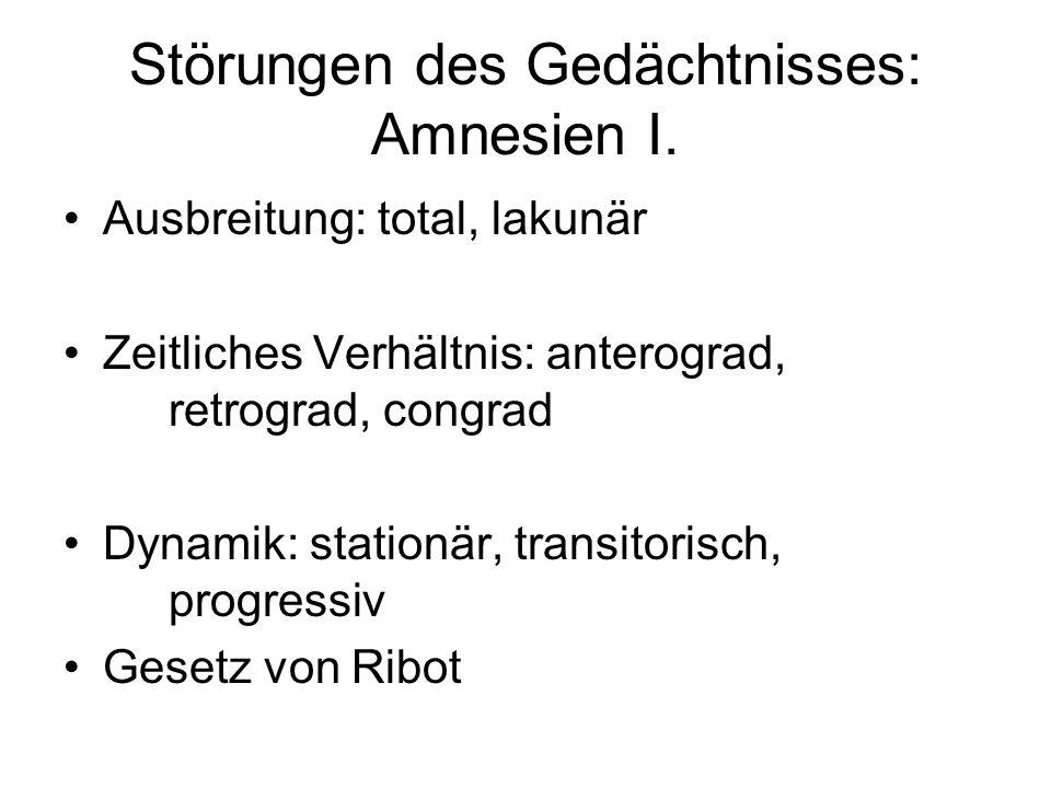 Störungen des Gedächtnisses: Amnesien I. Ausbreitung: total, lakunär Zeitliches Verhältnis: anterograd, retrograd, congrad Dynamik: stationär, transit