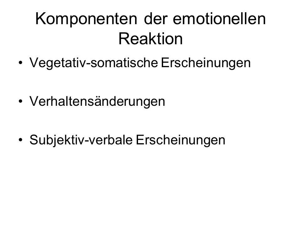 Komponenten der emotionellen Reaktion Vegetativ-somatische Erscheinungen Verhaltensänderungen Subjektiv-verbale Erscheinungen