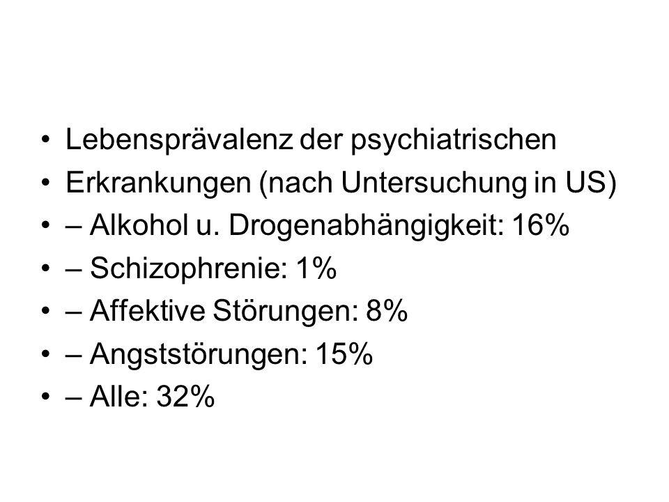 Lebensprävalenz der psychiatrischen Erkrankungen (nach Untersuchung in US) – Alkohol u. Drogenabhängigkeit: 16% – Schizophrenie: 1% – Affektive Störun