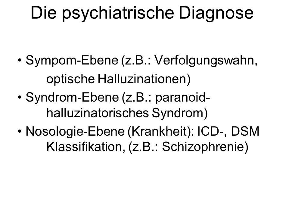 Die psychiatrische Diagnose Sympom-Ebene (z.B.: Verfolgungswahn, optische Halluzinationen) Syndrom-Ebene (z.B.: paranoid- halluzinatorisches Syndrom)