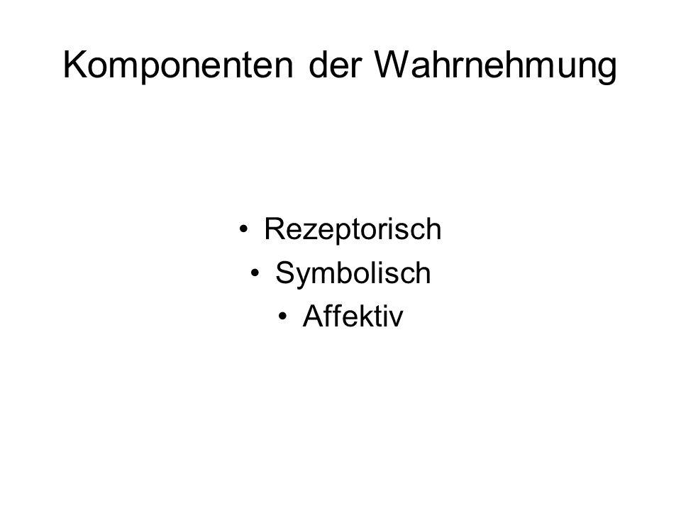 Komponenten der Wahrnehmung Rezeptorisch Symbolisch Affektiv