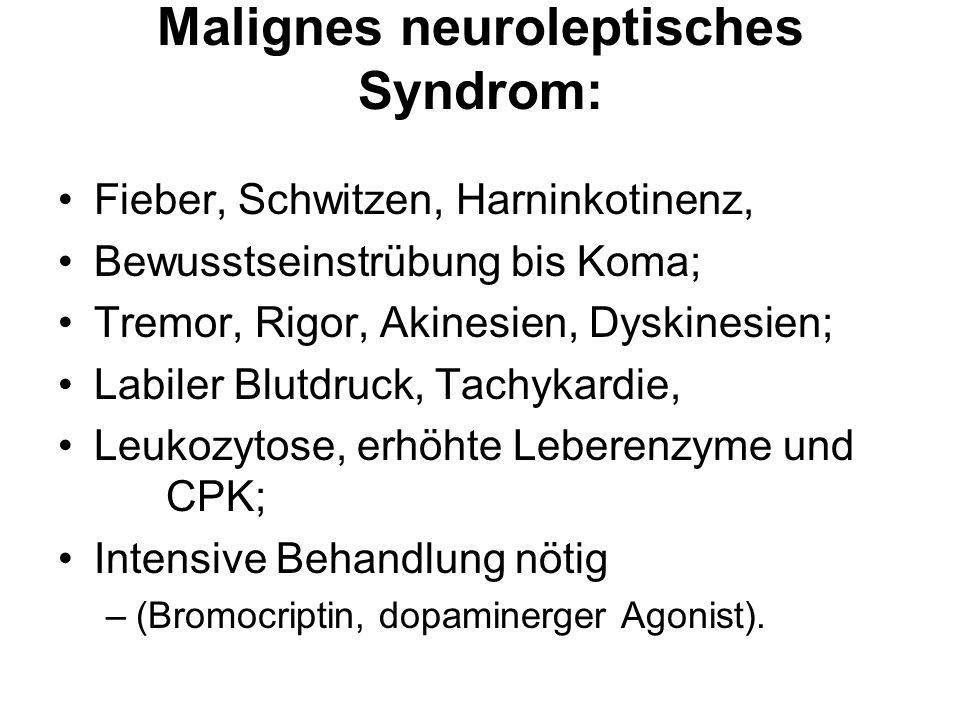 Malignes neuroleptisches Syndrom: Fieber, Schwitzen, Harninkotinenz, Bewusstseinstrübung bis Koma; Tremor, Rigor, Akinesien, Dyskinesien; Labiler Blut