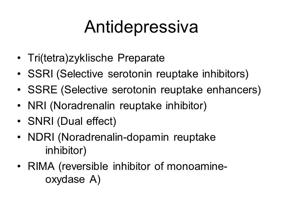 Antidepressiva Tri(tetra)zyklische Preparate SSRI (Selective serotonin reuptake inhibitors) SSRE (Selective serotonin reuptake enhancers) NRI (Noradre