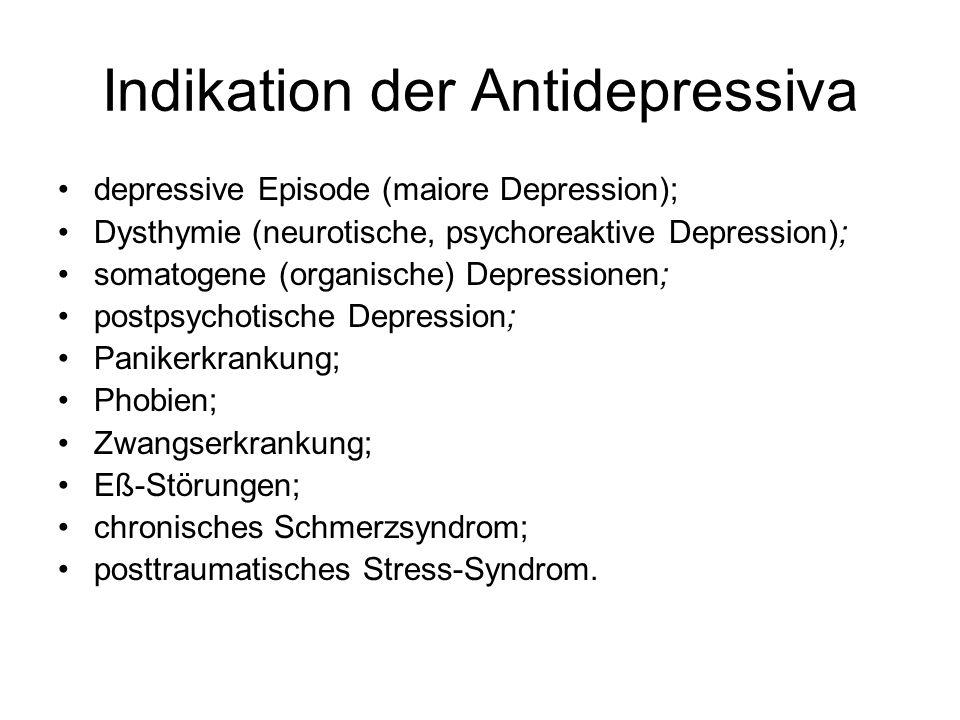Indikation der Antidepressiva depressive Episode (maiore Depression); Dysthymie (neurotische, psychoreaktive Depression); somatogene (organische) Depr