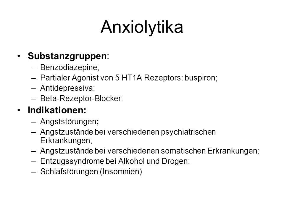 Anxiolytika Substanzgruppen: –Benzodiazepine; –Partialer Agonist von 5 HT1A Rezeptors: buspiron; –Antidepressiva; –Beta-Rezeptor-Blocker. Indikationen