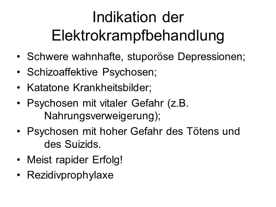 Indikation der Elektrokrampfbehandlung Schwere wahnhafte, stuporöse Depressionen; Schizoaffektive Psychosen; Katatone Krankheitsbilder; Psychosen mit