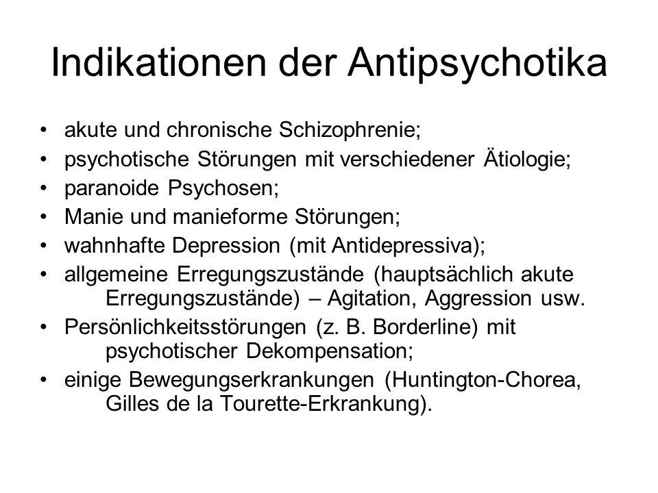 Indikationen der Antipsychotika akute und chronische Schizophrenie; psychotische Störungen mit verschiedener Ätiologie; paranoide Psychosen; Manie und