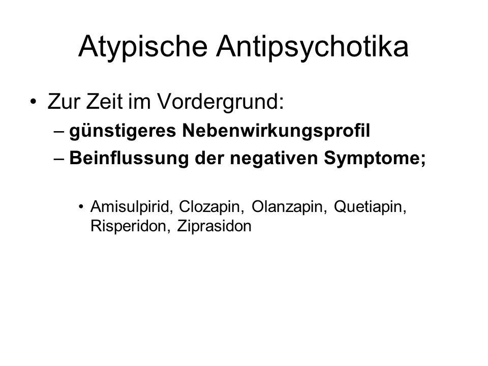 Atypische Antipsychotika Zur Zeit im Vordergrund: –günstigeres Nebenwirkungsprofil –Beinflussung der negativen Symptome; Amisulpirid, Clozapin, Olanza