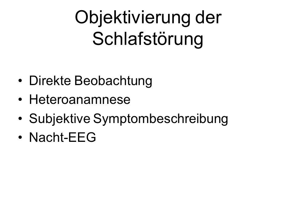 Objektivierung der Schlafstörung Direkte Beobachtung Heteroanamnese Subjektive Symptombeschreibung Nacht-EEG