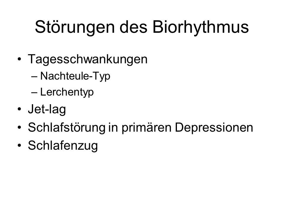 Störungen des Biorhythmus Tagesschwankungen –Nachteule-Typ –Lerchentyp Jet-lag Schlafstörung in primären Depressionen Schlafenzug