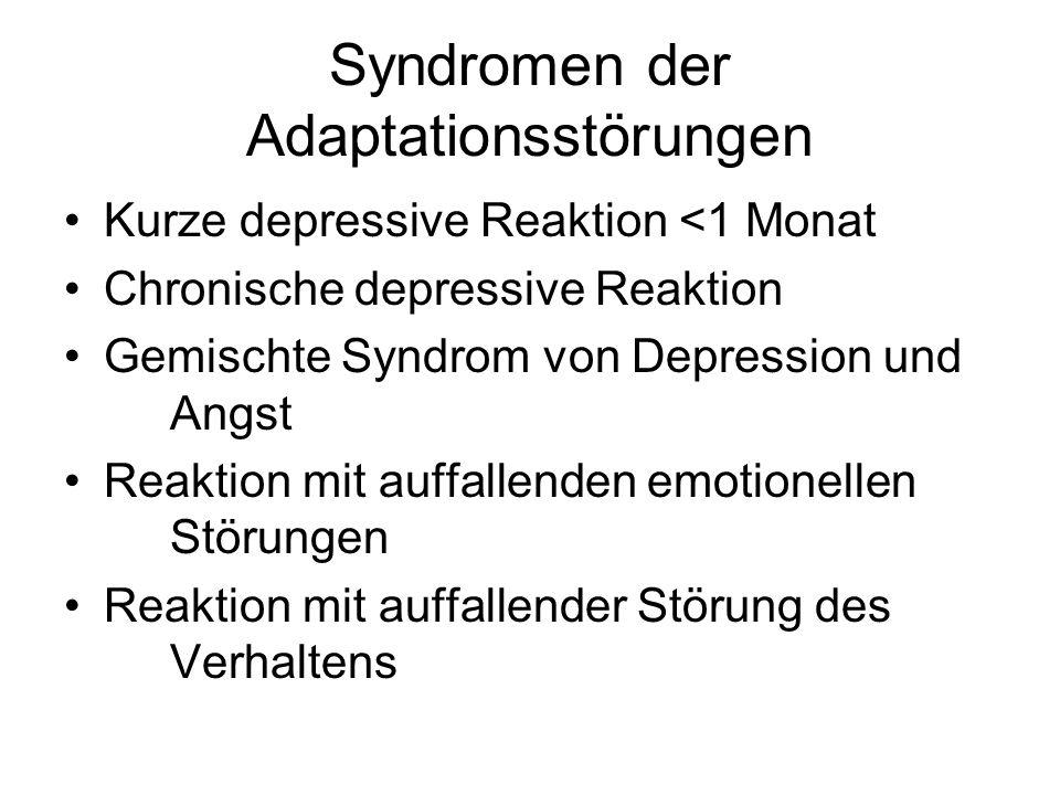 Syndromen der Adaptationsstörungen Kurze depressive Reaktion <1 Monat Chronische depressive Reaktion Gemischte Syndrom von Depression und Angst Reaktion mit auffallenden emotionellen Störungen Reaktion mit auffallender Störung des Verhaltens